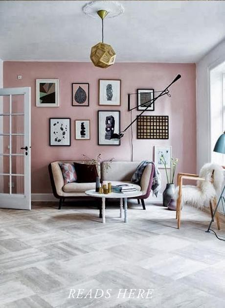 baby pink minimal Scandinavian interior