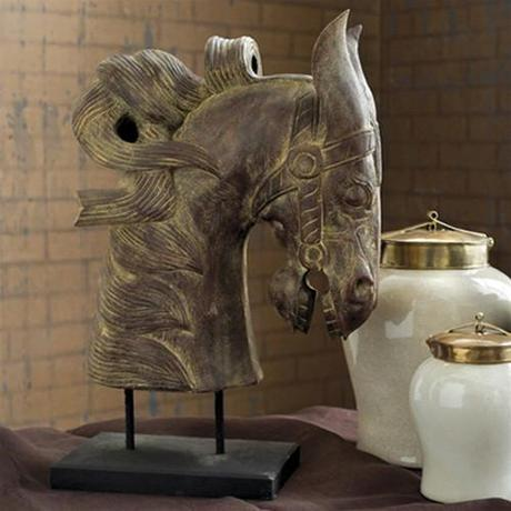 Carved Wooden Horse Head design by Tozai Home
