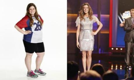 "Rachel Frederickson at the start of ""The Biggest Loser"" (L) and on the finale (R). (NBC/Paul Drinkwater/AP; NBC/Trae Patton/AP)"