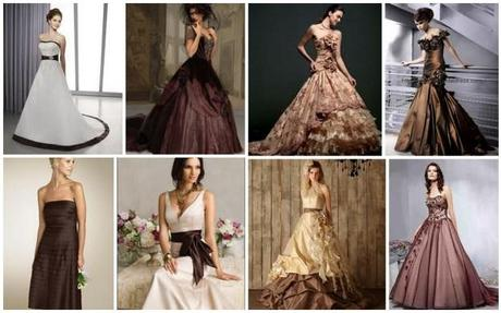Wedding dresses in contrasting shades of brown