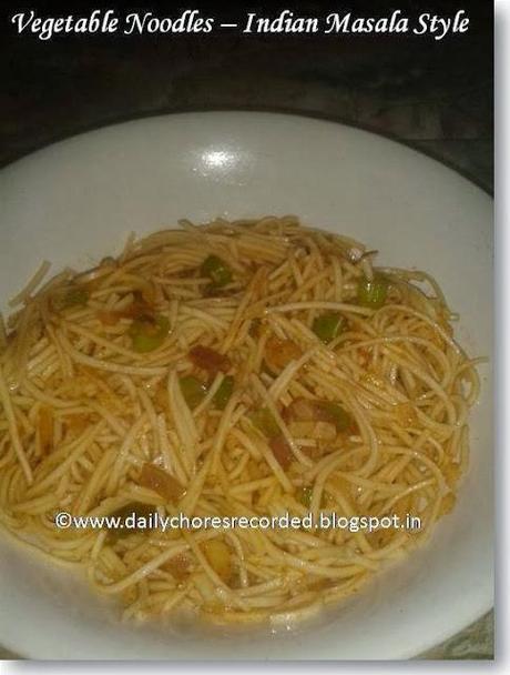 Vegetables Noodles with Indian Masala