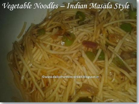 Vegetables Noodles with Indian Masala