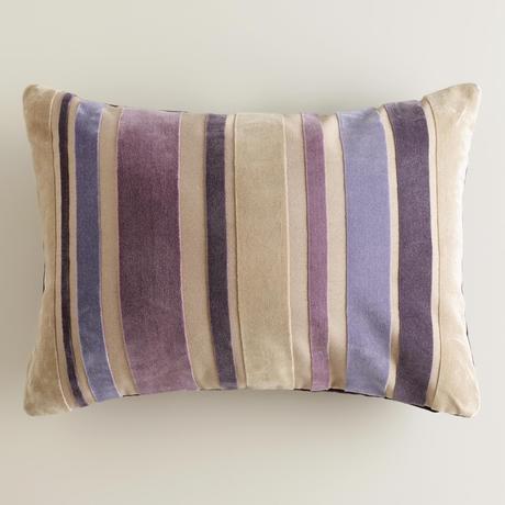 Purple Stripe Velvet Lumbar Pillow
