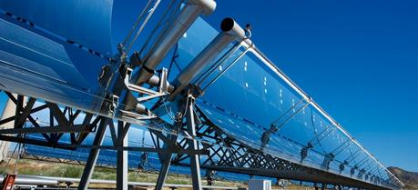 The picture shows a parabolic trough collector at the Plataforma Solar de Almería (PSA) in southern Spain.