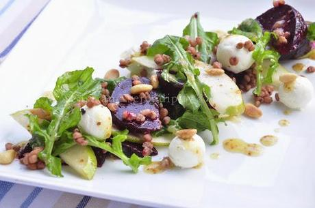 Salad of Roasted Beets, Fragrant Pear, Arugula, Labneh and Indian Millet