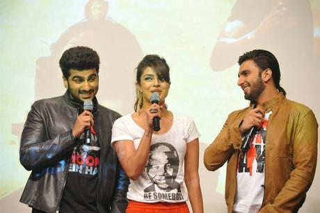Ranveer Singh, Arjun Kapoor and Priyanka Chopra During Gunday Promotions