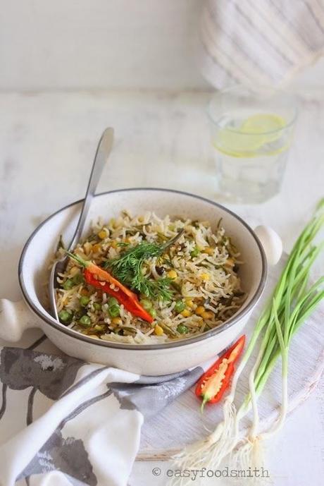 CHANA DAL, MATAR AUR HARA LEHSUN KA PULAO (Spring Garlic, Split Bengal Gram & Pea Pilaf)