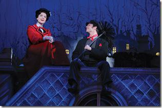 "Rachel Wallace as 'Mary Poppins' and Nicolas Dromard as 'Bert"" perform ""Chim Chim Cher-ee.""  National Tour Company of MARY POPPINS.  ©Disney/CML.  Photo by Joan Marcus."