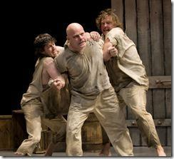 Will Allan (Billy Bunting, left) and Rian Jairell (Jeremy Stiles, right) attempt to hold back a furious Steve Pickering (Jack Dawson, at center).