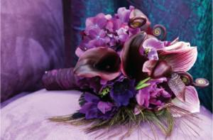 Purple Wedding Bouquet With Feathers