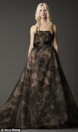 Floral lace: Black wedding dress by Vera Wang.
