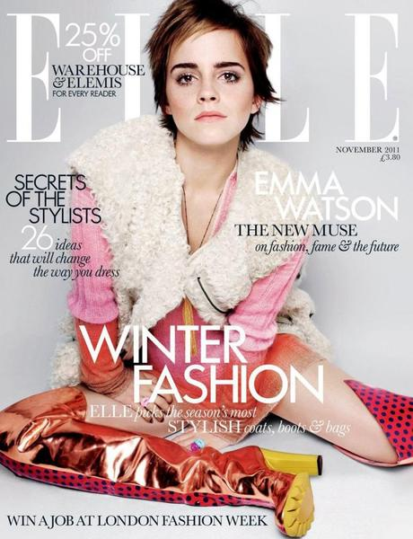 """Emma Watson's Cover Shoot for Elle UK Nov.2011 – """"HP"""" Girl narrates on style and beauty…"""