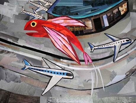Fish flies over the airport