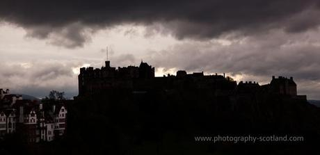 Landscape photo - Edinburgh castle silhouetted against a moody sky