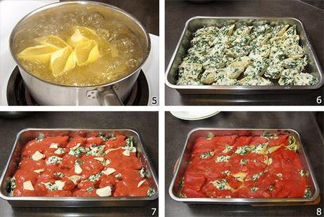 Baked Shells Pasta with Ricotta and Spinach