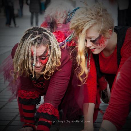 Photo - steet performers preparing for the Beltane festival in Edinburgh, Scotland