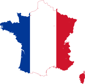 France map with the French flag - learn french