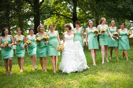 Wedding Wednesday: Green Bridesmaids Gowns