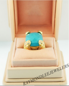 Judith Ripka Couture 18K Yellow Gold and Diamond Turquoise Fontaine Ring