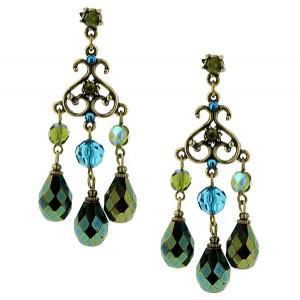 Turquoise and Green Chandelier Earrings