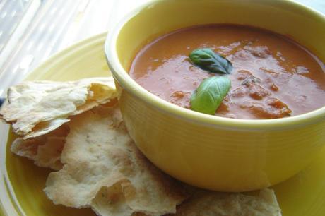 Cosi-style Tomato Basil Soup with Crisp Rosemary Flatbread