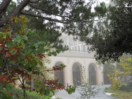 Foggy archways of Getty Villa Malibu