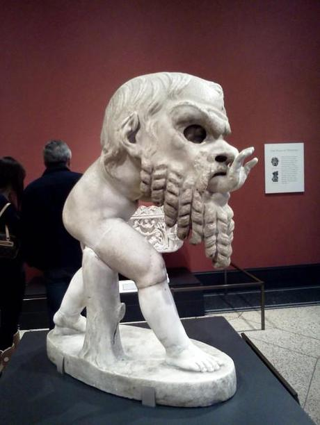 Getty Villa statue of satyr with theater mask