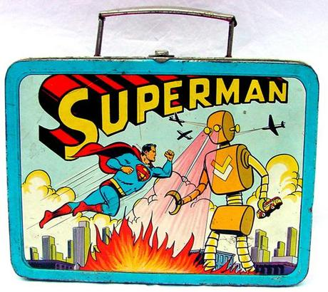 1954 ADCO metal Superman vs. the robot lunchbox. John W. Coker Auctions image.