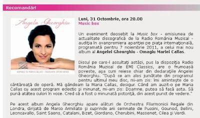 Homage to Maria Callas on Radio Romania Muzical tonight (available online, too)