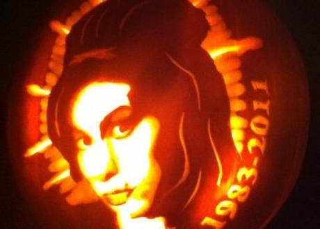 Halloween pumpkin tribute to Amy Winehouse