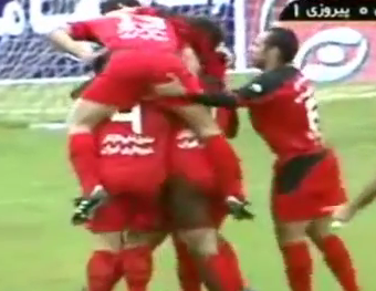 Iranian footballers banned for 'immoral' butt squeeze goal celebration