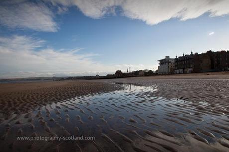 Landscape photo - reflections on the beach at Portobello, edinburgh, Scotland