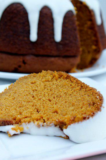Food: Spiced Pumpkin Bread with Ginger Glaze.