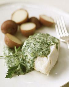 Poached Cod with Parsley Sauce from Whole Living
