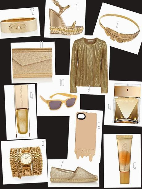 metallic gold accessories