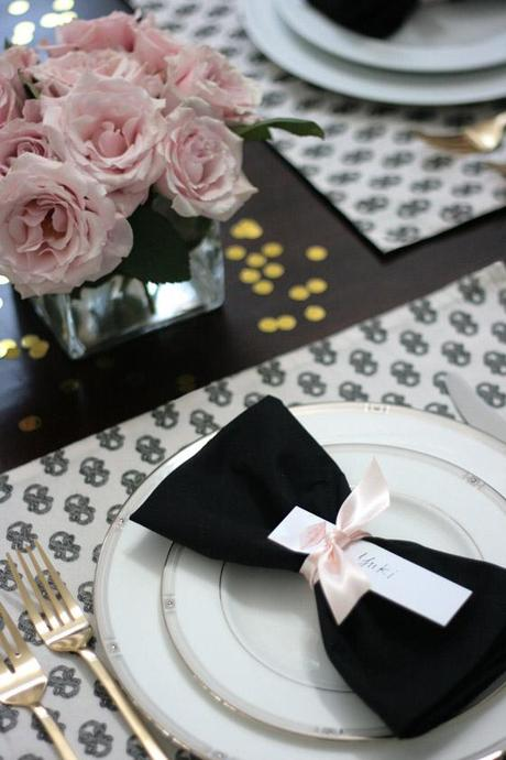 Dinner Party Table Black White Pink Amp Gold Paperblog