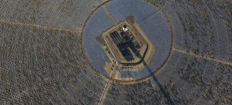 An aerial view of Tower 1 and its heliostats at the Ivanpah Solar Power Facility.