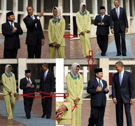 U.S. President Barack Obama and first lady Michelle Obama are shown around by Grand Imam Ali Mustafa Yaqub at the Istiqlal Mosque in Jakarta
