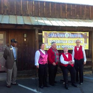 The Hi Country Harmonaires helped celebrate a ribbon cutting for the Victorville Old Town Route 66 Historic Society on Feb. 12 at Santa Fe Trading Co. in Old Town