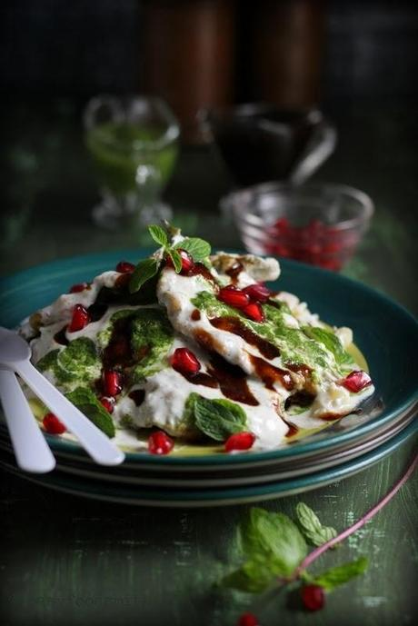 PAALAK PATTA CHAAT (Spinach Leaf Fritters drizzled w/ Spiced Yogurt, Green Chutney & Tamarind Sauce)