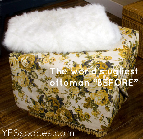 fur before1 DIY: Recover a Stylish Fur Ottoman for Under $52