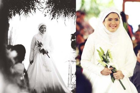 Muslim bride in white dress
