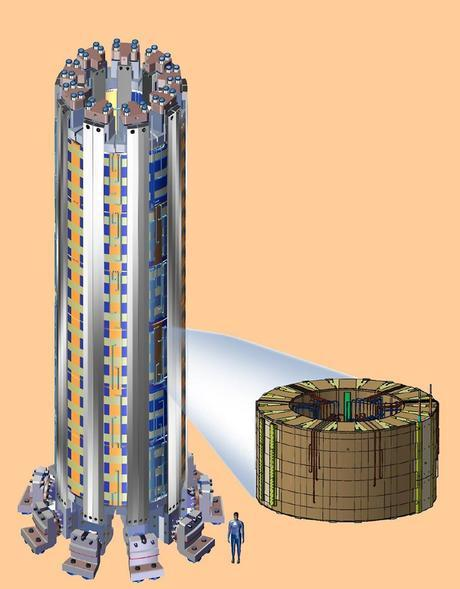 The 1,000 metric ton solenoid located in the center of the ITER tokamak will have 5.5 gigajoules of stored energy and be about 18 meters, or 60 feet, tall.