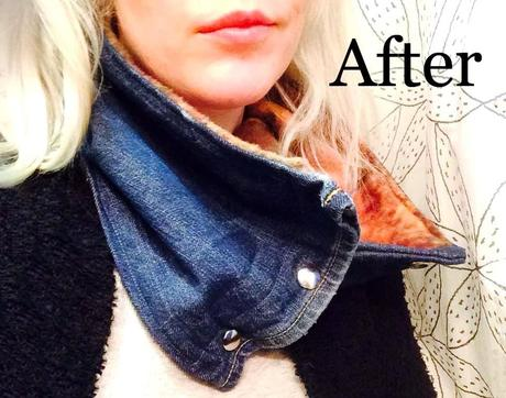 Upcycled Denim and Fleece Scarf
