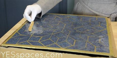 Mosaic spreading epoxy1 DIY: Milo Baughman Inspired Mosaic Cube Table for under $52