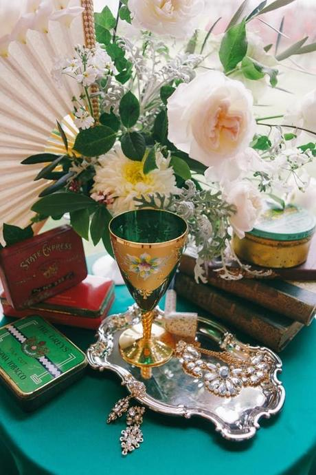 1920s Wedding Inspiration with Emerald and Gold tones by The Couture Candy Buffet Company