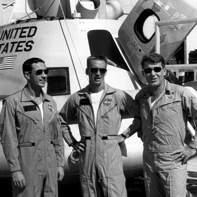 Apollo 7 crew Donn Eisele, Walter Cunningham, and Wally Schirra - courtesy Larry Hobson