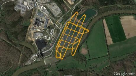 The image shows the flight path of the zone over the coal ash pond