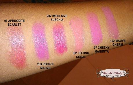 Swatch Check - 6 Loreal Rouge Caresse Lipstick Swatches