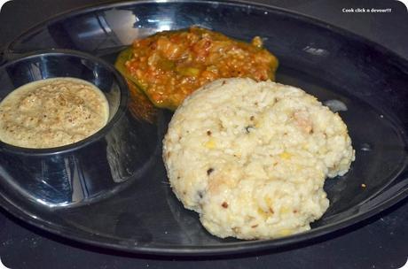 South Indian breakfast trail #2-Ven pongal-kathrikai kothsu-coconut chutney